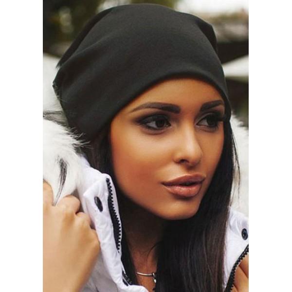Дамска пролетна шапка-черна